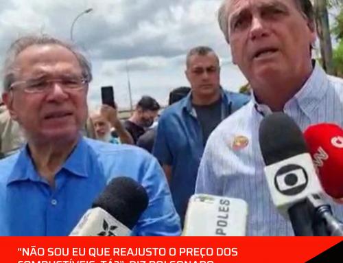 """""""Não sou eu que reajusto o preço dos combustíveis, tá?"""", diz Bolsonaro."""